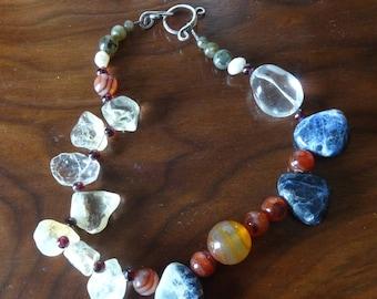 Artisan Choker Multi-Gem Necklace-Citrine,Carnelian,Garnet,Pearl,Rock Crystal,Labrodite, Sodalite