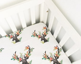 Crib Sheet Floral Rustic Deer. Fitted Crib Sheet. Baby Bedding. Crib Bedding. Minky Crib Sheet. Crib Toddler Sheets.  Floral Crib Sheet.