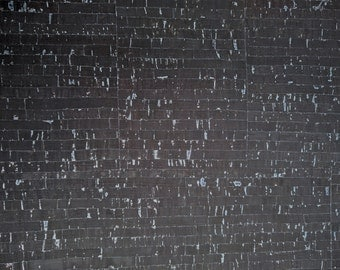 Natural Cork Fabric - Black with Silver