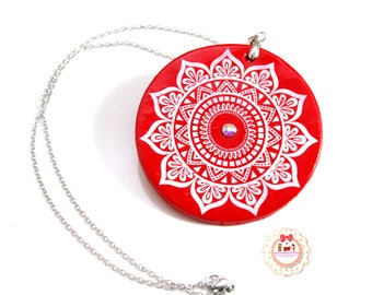Necklace with sketch mandala-necklace jewels fimo great pendant with sketch send her and swarovski