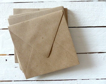 25 envelopes Brown recycled paper of 15x15cm