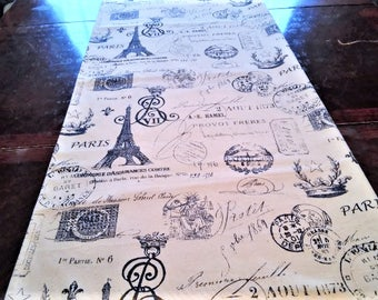 Table Runner, Script Table Linen, French Eiffel Tower, Navy Blue Table Cloth/Scarf, French, Banquet, 16''x84'' Buffet Runner, Dresser Scarf