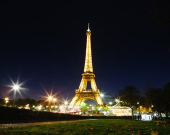 Eiffel Tower at Night in Paris France || Fine Art Photography