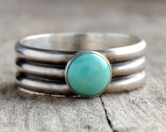 Sterling Silver & Turquoise   Genuine Kingman Turquoise   Rustic Oxidized Patina, Triple Band, Engagement, Wedding, Size 6.75 Ready to Ship