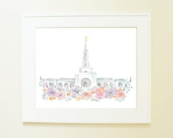 Sacramento, California Temple Watercolor Print, LDS Artwork
