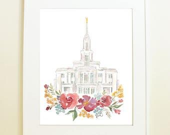 Payson, Utah Temple Watercolor Print