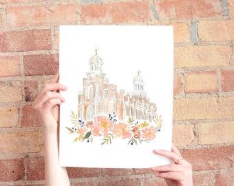 All new Logan, Utah LDS Temple Watercolor Print
