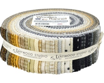 Maywood Woolies Neutrals Flannel Jelly Roll 40 Fabric Strips