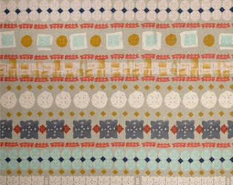 Bandana CANVAS Coral Teal Gold Neutral Linen Cotton Blend Cotton and Steel Fabric BTY