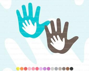 Digital Hands Clipart Hand Logo Hand Drawn Art Instant Download PNG