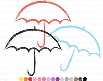 Umbrella Clip Art, Digital Umbrella Clipart, Multiple Colors, 30 Colors, Instant Download PNG
