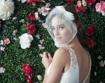 COSETTE w/ MARIE Medium BIRDCAGE - birdcage veil, bridal birdcage veil, bird cage veil with bow, veil bow, tulle birdcage, bridal veil