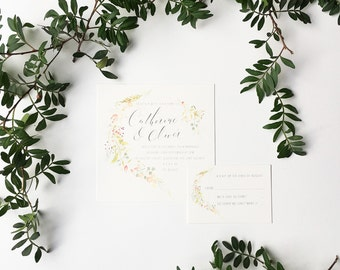 Rosehips personalised wedding invitation - beautifully illustrated square wedding invitation with calligraphy