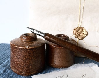 Vintage clay ink pots for calligraphers