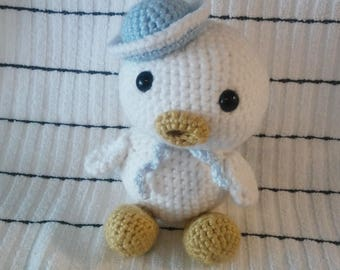 Crochet Small Stuffed Animal Gift White Duck Baby Blue Sailor Hat and Shawl Free Shipping Inexpensive Baby Shower Birthday Christmas Gift