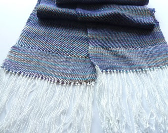 """Handwoven Twill Scarf with Bamboo and Egyptian Handpainted Cotton White Turquoise Purple  Brown Blue Olive 7"""" x 62"""" plus Fringe"""