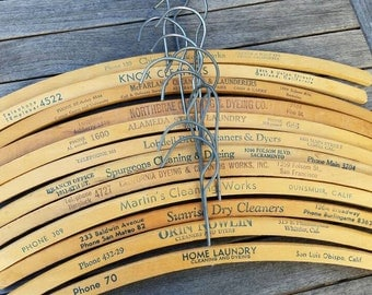 Collection of Vintage Wooden Hangers with Advertising, California, Cottage Chic, Retail Display, Rustic Home Decor