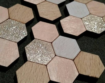 Blush, gold and white hexagonal geometric laser cut wood brooch