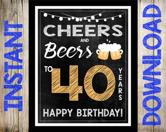 """HUGE 16x20"""" Cheers & Beers 40th Birthday Party Chalkboard Sign - INSTANT DOWNLOAD - You Print - 40th Birthday Decorations"""