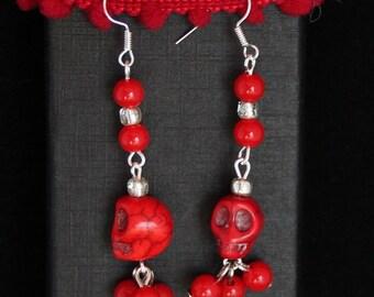 Earrings Red Skulls, sugarskulls, dia de los muertos