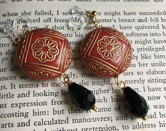 Red Gold Black Invisible Clip On Earrings / Bridal Clip Earring / Drop Clipon / Geometric