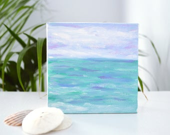 SALE! Beach Painting, Ocean Painting, Nursery Wall Art, Beach Art, Lilac Skies, Abstract Seascape, Acrylic Painting on Wrapped Canvas