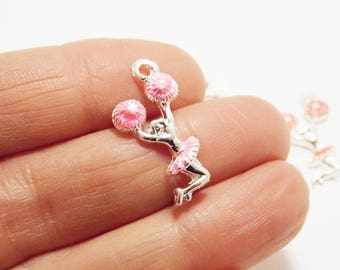 4 Pink Pom Poms Cheerleading silver Charms, Cheerleader, 25x11mm, Cheer-leading, cheer team Jewelry, gift idea, party favor supplies