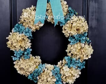 Hydrangea wreath-spring wreath - door wreath - home decor-wreaths-hydrangea wreath - summer wreath - mothers day