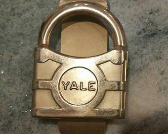 Vintage money clip padlock shape, gold plated