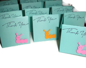 Caterpillar thank you mini cards 20ct 5x2 and a half folded Mini Notes Folded notes for sales Thank you cards Thank you Sales cards Thanks