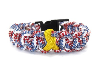 Yellow Ribbon Military Paracord Bracelet - Red, White and Blue Bracelet - Patriotic Military Bracelet - Support Our Troops Paracord Bracelet
