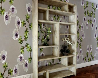 Asymmetrical reclaimed wooden bookcase and display unit.