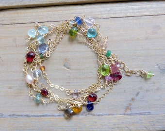 Lux Mix of Gems Chain Layer Necklace in Gold