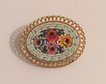 30% DISCOUNT SALE Vintage Goldtone Millefiori Style Mosaic Pin (#6)