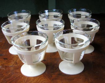 Vintage Pyrex Custard Cups with Plastic Serving Holders Set of 8