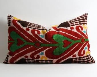 16x26 ikat velvet pillow cover best quality ikat fabrics handwoven hand dyed