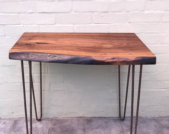 Walnut slab coffee table with cast iron hairpin legs for Coffee table with cast iron legs