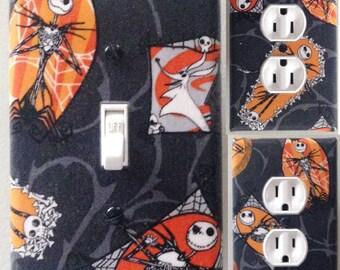 Jack Skellington Nightmare before Christmas light switch wall plate covers nursery, kid room bathroom ,bedroom decor halloween