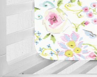 READY TO SHIP!!! Pink Floral Baby Girl Changing Pad Cover - Primrose in Pink