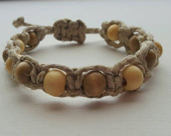 Adjustable Hemp Bracelet- Wooden Beads