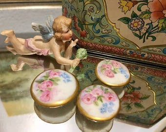 Gorgeous, Hand Painted, Porcelain, Antique Buttons
