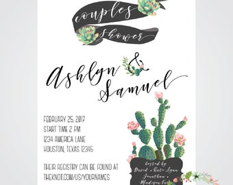 Watercolor Cactus // Couples Shower Invitation // Printable