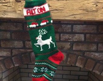 Hand Knit Christmas Reindeer Stocking