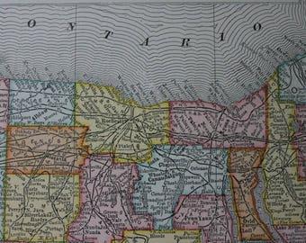Vintage Map Atlas Book Plate c1906