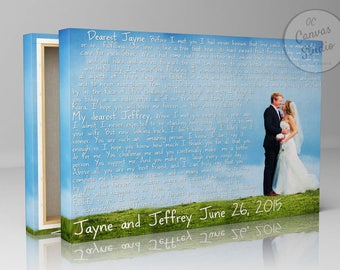 Wedding vows canvas, Wedding vows print, Wedding vows art,  Framed wedding vows, Wedding photo and vows, Personalized wedding vows