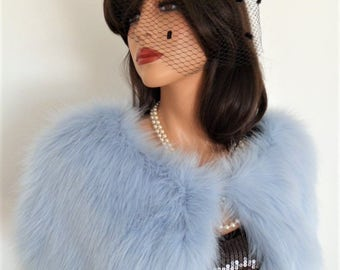 blue fur capelet, pale blue fur, powder blue, bridal wrap, shrug, shawl, stole