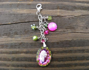 Hot pink and lime green Cross charm with assorted pink and green charms/purse charm zipper pull/accessory/purse charm/keychain/feminine/gift