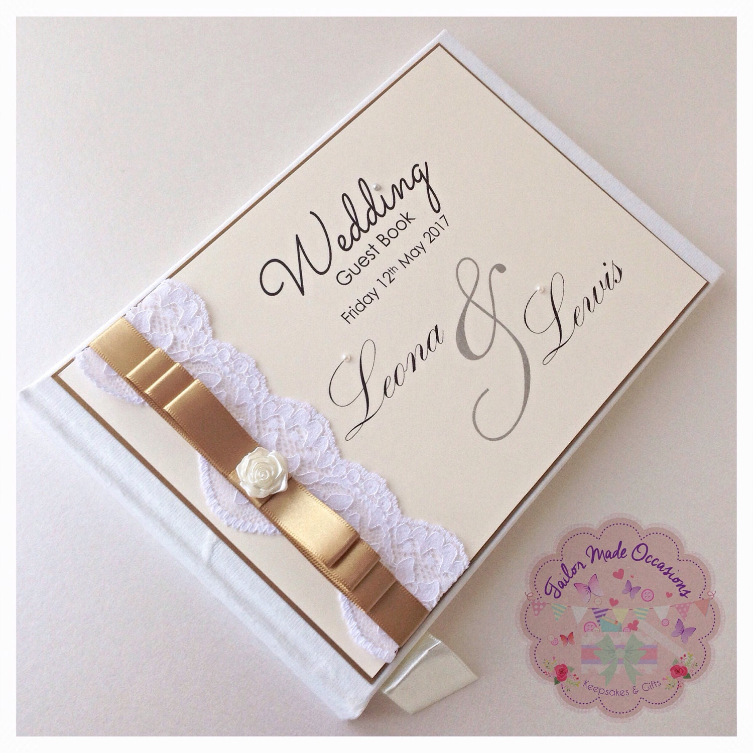 Personalised Lace Wedding Guest Book Card Post Box Angelina