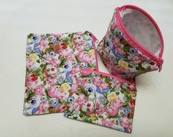 Reusable Sandwich Bag Set,Pigs Snack Bags,Lunch Baggies,Retro,Washable,Gadget Bags,Make-Up Bags,Small Toy Bags,Nylon Lining, Zipper Closure.