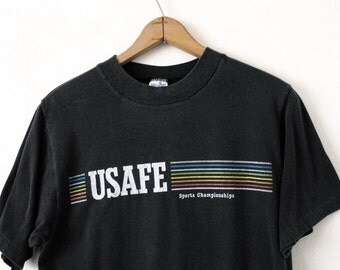 Vintage LARGE (Lean) 1980s USAFE Sports Championships Soft and Thin Graphic T-Shirt